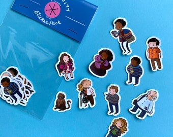 Community TV Show - Sticker Pack - Abed Nadir, Troy Barnes, Jeff Winger, Britta Perry, Annie Edison, Señor Chang, Shirley Bennett, The Dean
