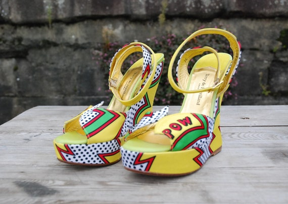 Stunning  'Zap Pow' Platform Wedges Sandals By Ter