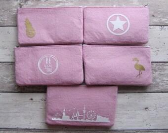 Filzmäppchen, Filztäschchen in rosa diverse Designs von Frollein KarLa
