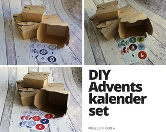 DIY Advent calendar with number stickers and food boxes