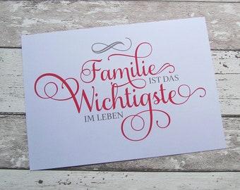 """Bild, Poster, Typographie, Druck, Kunstdruck """"Familie ist das Wichtigste im Leben"""" von Frollein KarLa"""