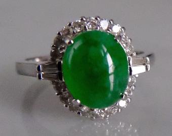18k Apple Green Jade Ring Vintage Deco