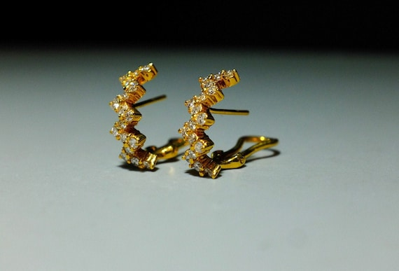20k Dainty Diamond Huggie Earrings ZigZag SOLD