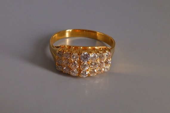 Vintage Chinese Tiered Diamond Ring 20k