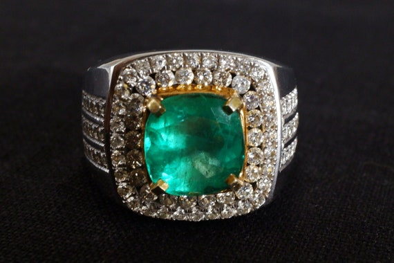 3ct Colombian Emerald Men's Ring 18k