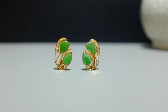 20k Art Nouveau Jade Earrings Antique