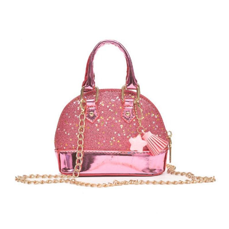 Kids pink glitter bag coin purse glitter