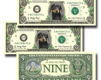 Dog K-9 Novelty Nine Dollar Bill Funny Money Gag Gift Note