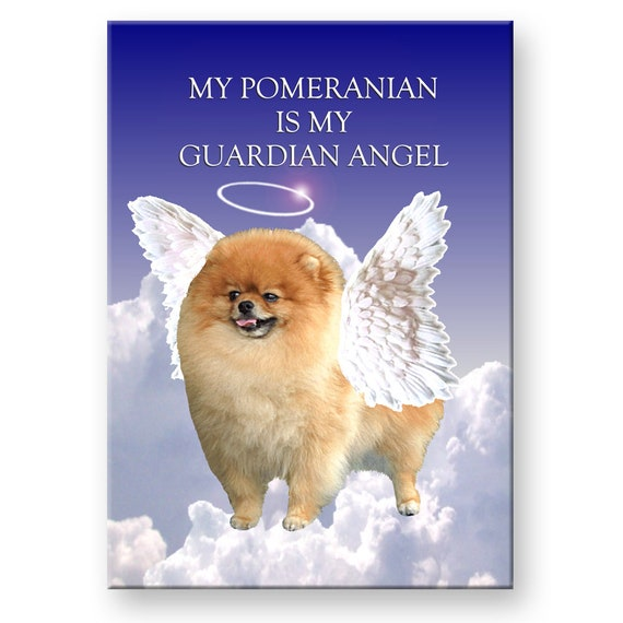 Pomeranian Guardian Angel Fridge Magnet