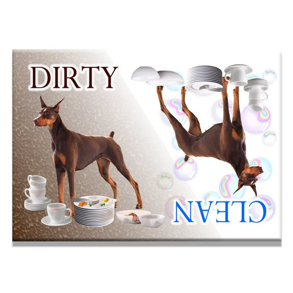 Doberman Pinscher Clean Dirty Dishwasher Magnet No 2 Red