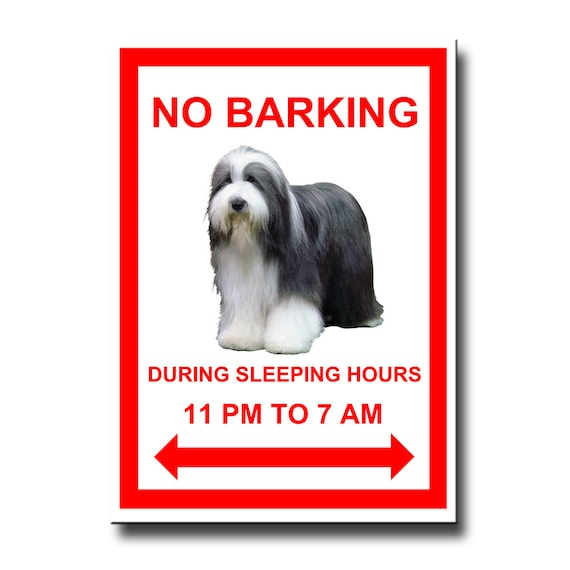 Bearded Collie No Barking Fridge Magnet