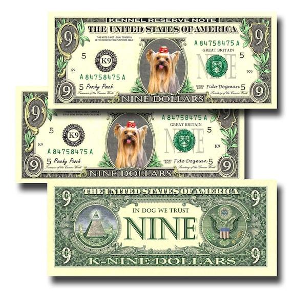 Yorkshire Terrier Pack Of 3 Novelty Nine Dollar Bills