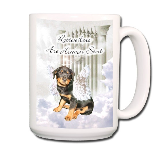 Rottweiler Heaven Sent Large 15 oz Coffee Mug