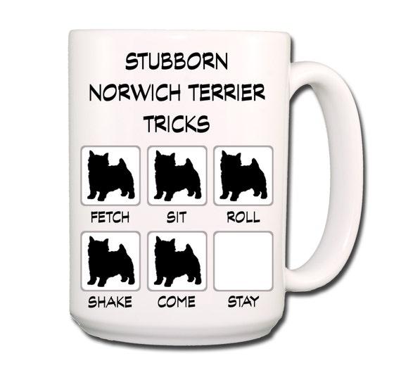 Norwich Terrier Stubborn Tricks Large 15 oz Coffee Mug