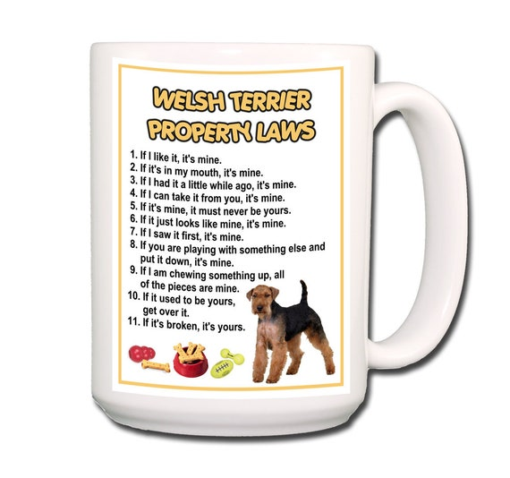 Welsh Terrier Property Laws Extra Large 15 oz Coffee Mug