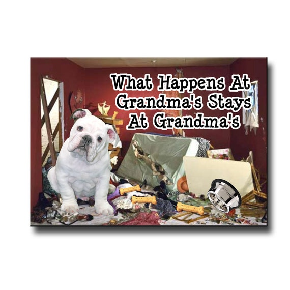 English Bulldog What Happens at Grandmas Funny Fridge Magnet