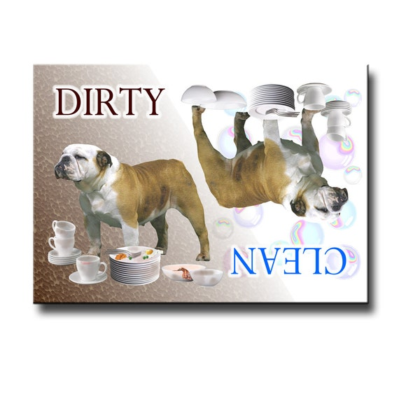 English Bulldog Clean Dirty Dishwasher Magnet No 2