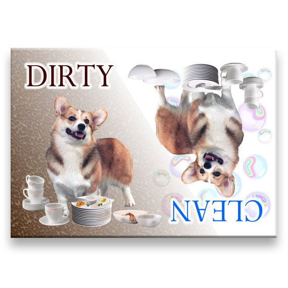 Pembroke Welsh Corgi Clean Dirty Dishwasher Magnet No 1