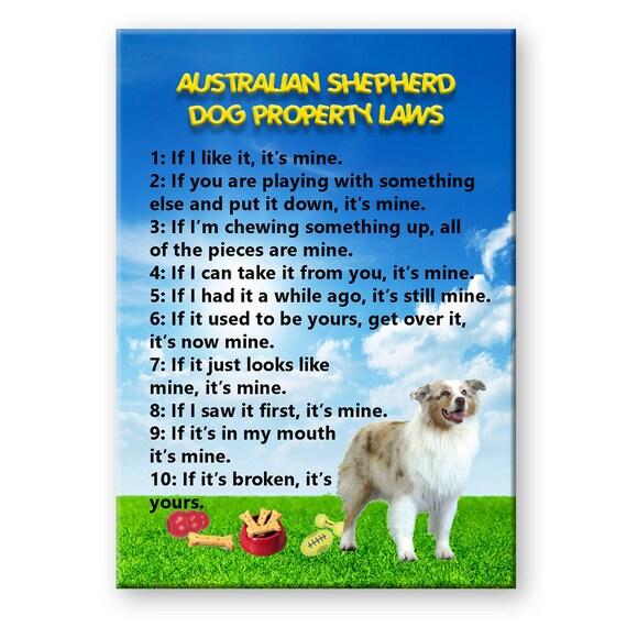 Australian Shepherd Dog Property Laws Fridge Magnet