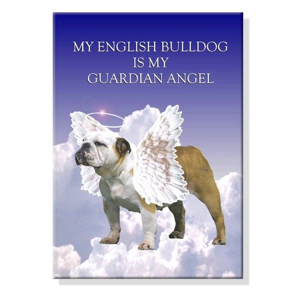 English Bulldog Guardian Angel Fridge Magnet No 2