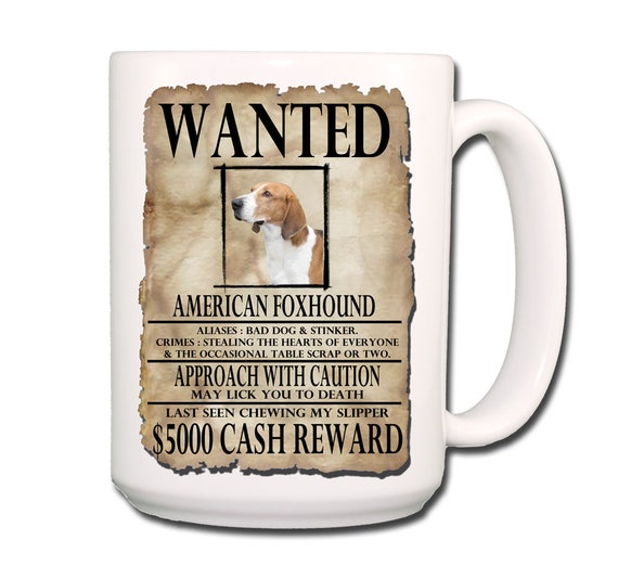 American Foxhound Wanted Poster Extra Large 15 oz Coffee Mug