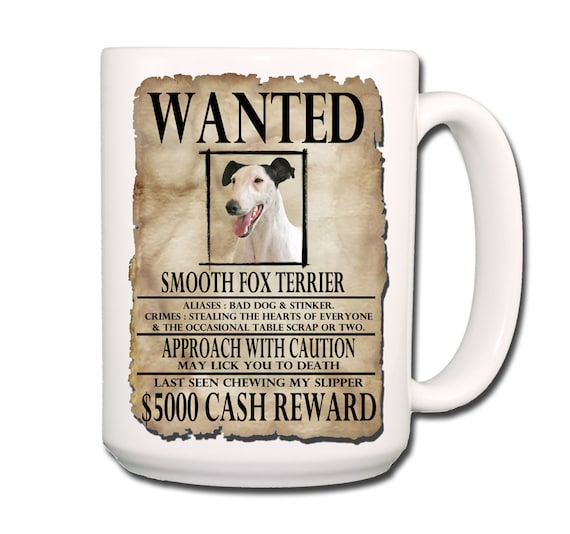 Smooth Fox Terrier Wanted Poster Extra Large 15 oz Coffee Mug