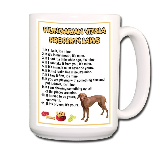 Hungarian Vizsla Property Laws Large 15 oz Coffee Mug