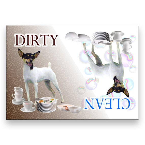 Toy Fox Terrier Clean Dirty Dishwasher Magnet