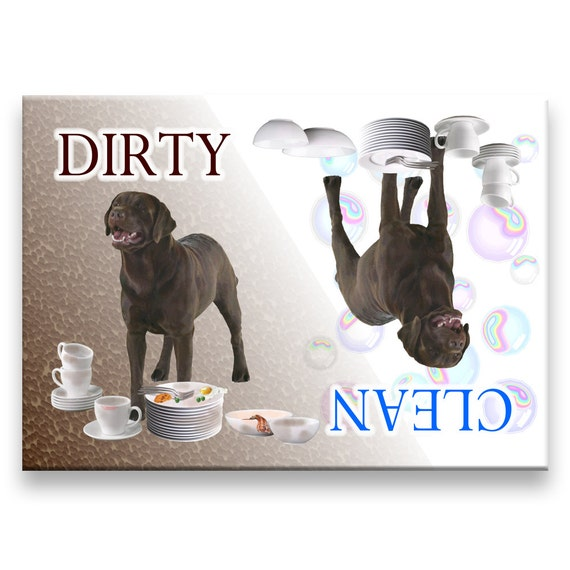 Labrador Retriever Clean Dirty Dishwasher Magnet (Chocolate)