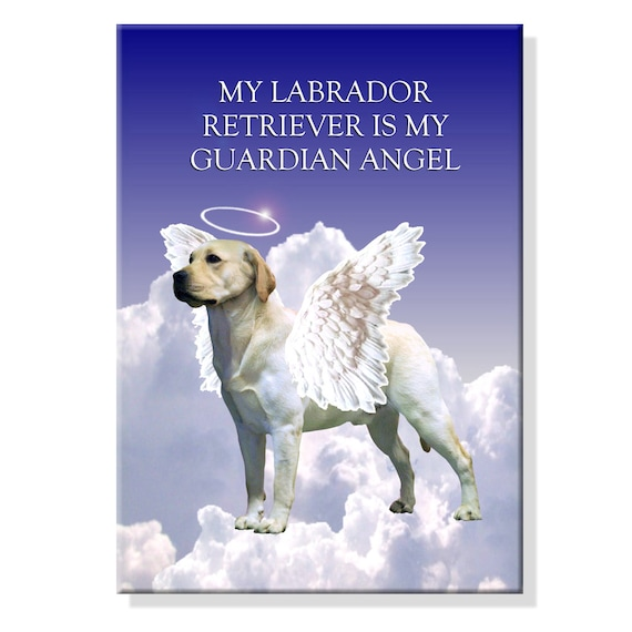 Labrador Retriever Guardian Angel Fridge Magnet (Yellow)