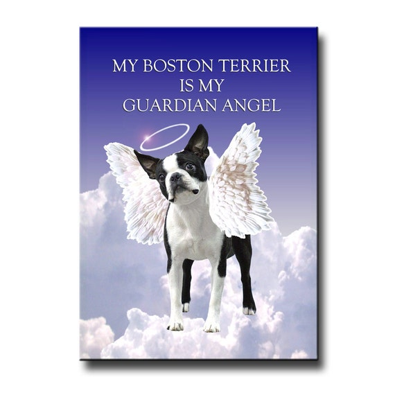 Boston Terrier Guardian Angel Fridge Magnet