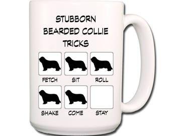 Bearded Collie Stubborn Tricks  Large 15 oz Coffee Mug