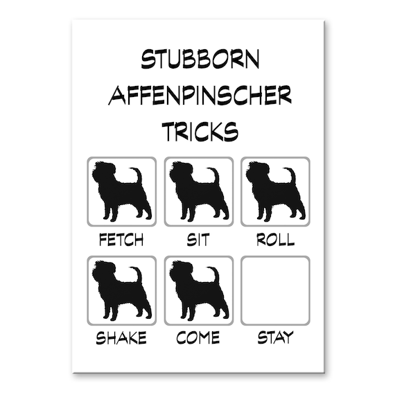 Affenpinscher Stubborn Tricks Fridge Magnet
