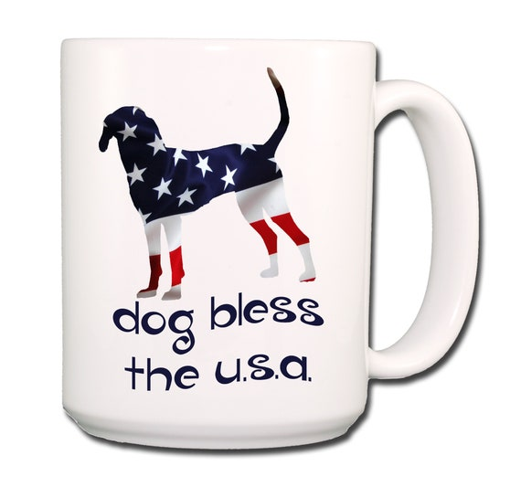 Treeing Walker Coonhound Dog Bless The U.S.A. Extra Large 15 oz Coffee Mug