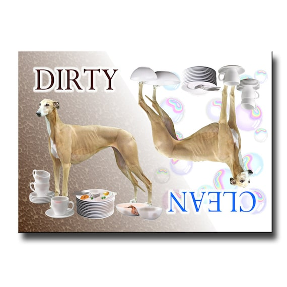 Greyhound Clean Dirty Dishwasher Magnet No 2