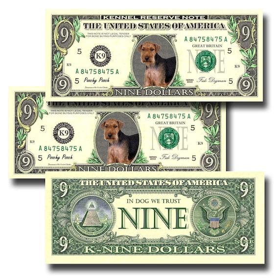Welsh Terrier Pack Of 3 Novelty Nine Dollar Bills