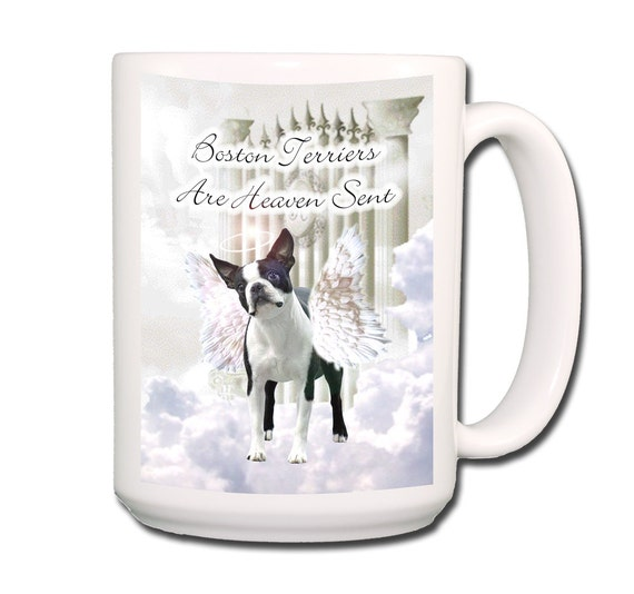 Boston Terrier Heaven Sent Large 15 oz Coffee Mug