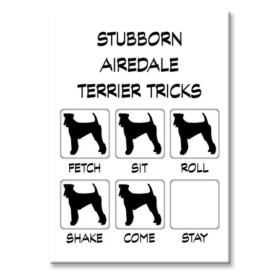 Airedale Terrier Stubborn Tricks Fridge Magnet