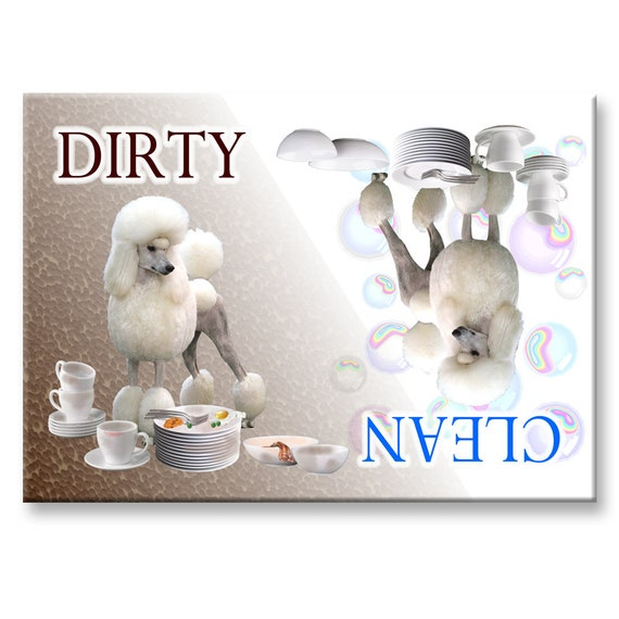 Poodle Clean Dirty Dishwasher Magnet No 1
