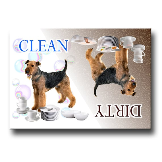 Airedale Terrier Clean Dirty Dishwasher Magnet