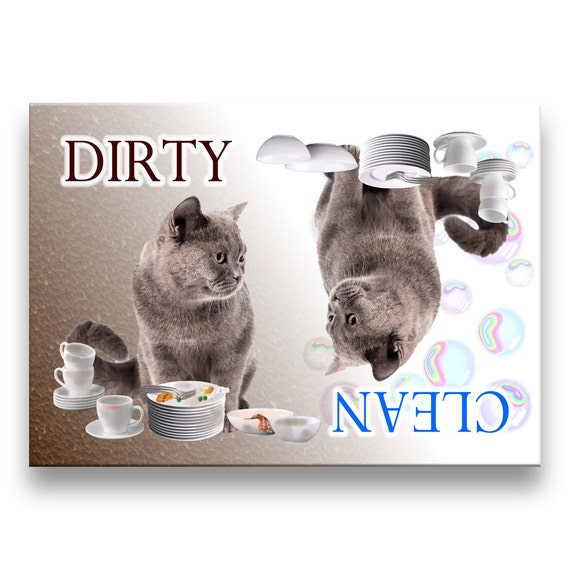 British Shorthair Cat Clean Dirty Dishwasher Magnet No 1