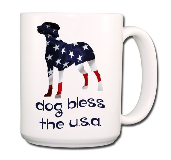 Dalmatian Dog Bless The U.S.A. Extra Large 15 oz Coffee Mug
