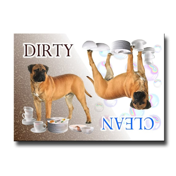 Bullmastiff Clean Dirty Dishwasher Magnet No 1