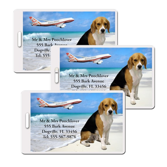 Beagle Set of 3 Personalized Luggage Tags