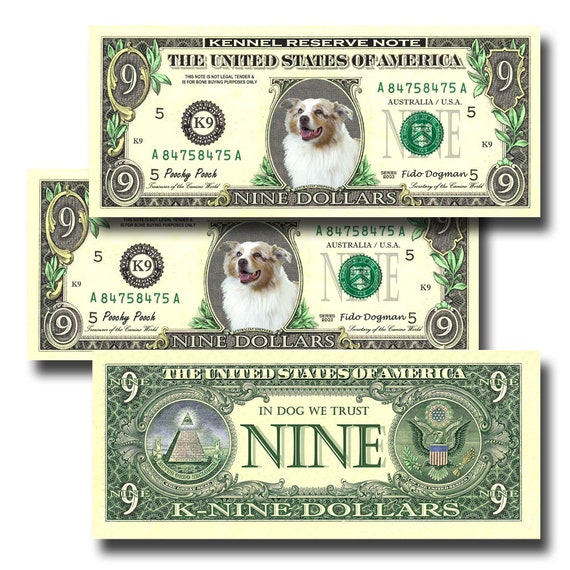 Australian Shepherd Dog Pack Of 3 Novelty Nine Dollar Bills