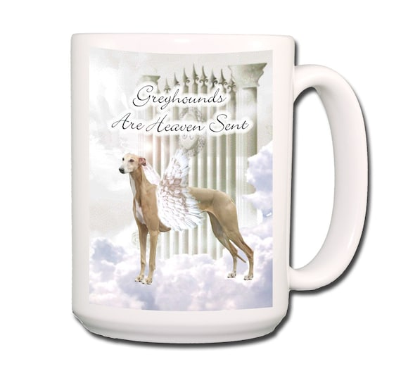 Greyhound Heaven Sent Pet Loss Large 15 oz Coffee Mug No 2