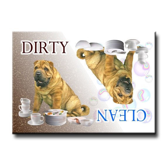 Shar Pei Clean Dirty Dishwasher Magnet