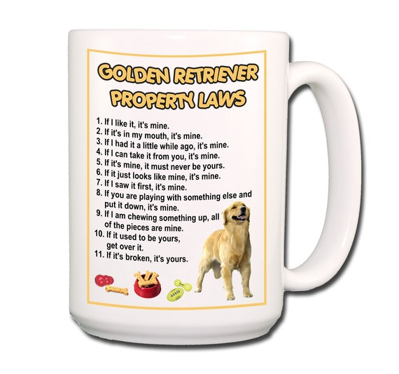 Golden Retriever Property Laws Extra Large 15 oz Coffee Mug