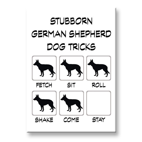 German Shepherd Dog Stubborn Tricks Fridge Magnet