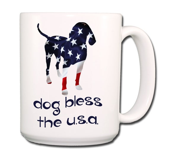 English Redtick Coonhound Dog Bless The U.S.A. Extra Large 15 oz Coffee Mug